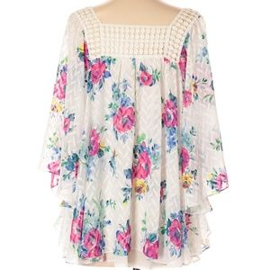 Meadow Rue |Anthropologie| white floral print blou